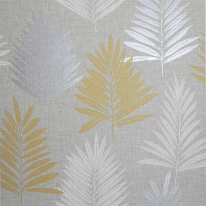 Arthouse Linen Palm Leaf Smooth Ochre and Grey Wallpaper