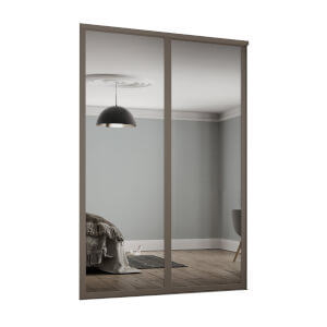 Shaker 2 Door Sliding Wardrobe Kit Mirror with Stone Grey Frame (W)1449 x (H)2260mm
