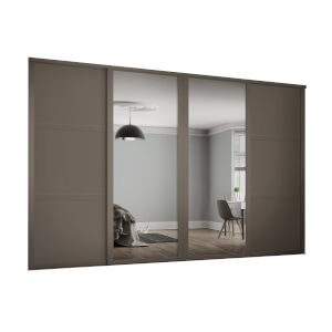 Shaker 4 Door Sliding Wardrobe Kit Stone Grey Panel / Mirror with Stone Grey Frame (W)2898 x (H)2260mm
