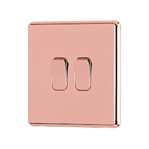 Arlec Fusion 10A 2Gang 2Way Rose Gold Double light switch