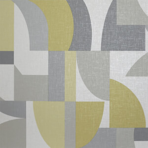 Arthouse Modern Geometric Textured Ochre and Grey Wallpaper