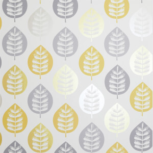 Arthouse Amira Leaf Smooth Metallic Ochre Wallpaper