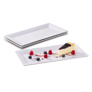 White Rectangle Platters - Set of 4