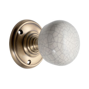 Sandleford Pittville Ceramic Mortice Knob Set - Cream Crackle & Antique Brass