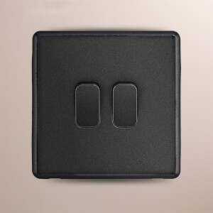 Arlec Rocker 10A 2Gang 2Way Charcoal Grey Double light switch
