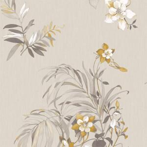 Belgravia Decor Botanique Floral Textured Gitter Yellow Wallpaper
