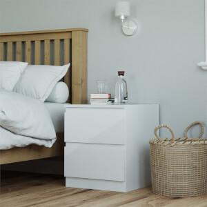 Modular Bedroom Handleless Bedside Chest - White