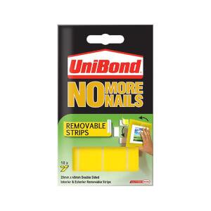 Unibond No More Nails Removable Strips - White - 10 piece x 20mm x 40mm