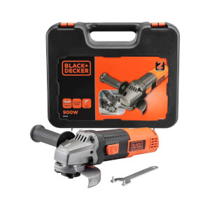 BLACK+DECKER 115mm 900W Corded Angle Grinder with Kit Box (BEG210K-GB)