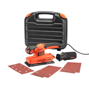 BLACK+DECKER Variable Speed Finishing 1/3 Sheet 240W Corded Sander with 5x Sanding Sheets (KA320EKA-GB)