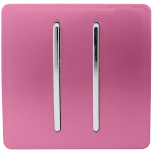 Trendi Switch 2 Gang 2 Way 10Amp Light Switch in Pink