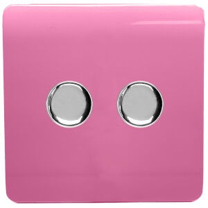 Trendi Switch 2 Gang 120 Watt LED Dimmer Switch in Pink