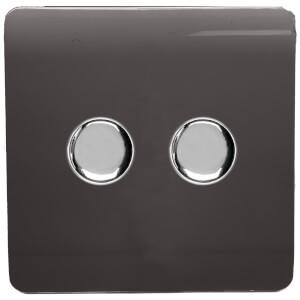 Trendi Switch 2 Gang 120 Watt LED Dimmer Switch Dark Brown
