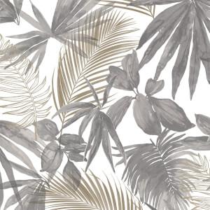 Grandeco Wild Palms Charcoal Wallpaper