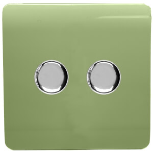 Trendi Switch 2 Gang 120 Watt LED Dimmer Switch in Moss Green
