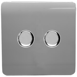 Trendi Switch 2 Gang 120 Watt LED Dimmer Switch in Light Grey