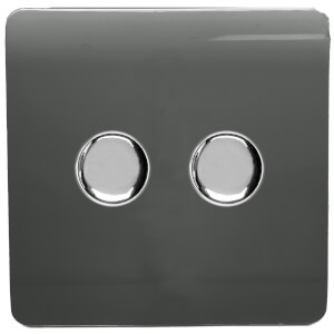 Trendi Switch 2 Gang 120 Watt LED Dimmer Switch in Charcoal