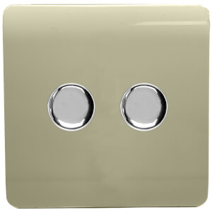 Trendi Switch Double 120 Watt LED Dimmer in Gold