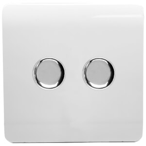 Trendi Switch Double 120 Watt LED Dimmer in White