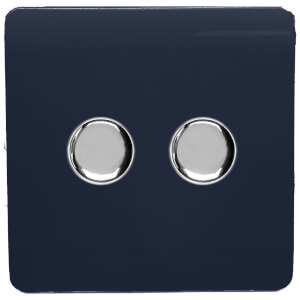 Trendi Switch 2 Gang 120 Watt LED Dimmer Switch in Navy