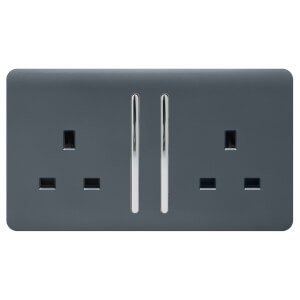 Trendi Switch 2 Gang 13Amp Long Switched Socket in Warm Grey