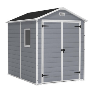 Keter Manor Outdoor Garden Shed 6x8ft Grey