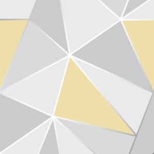 Fresco Geometric Smooth Metallic Yellow Wallpaper