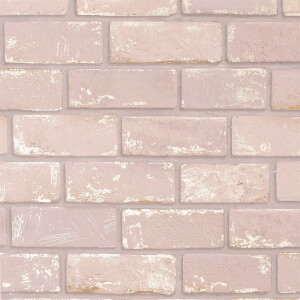 Arthouse Metallic Brick Pink Rose Gold Wallpaper