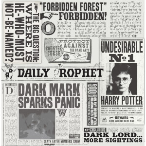 Harry Potter Daily Prophet Monochrome Wallpaper