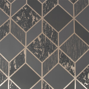 Superfresco Vittorio Geo Charcoal And Rose Gold Wallpaper