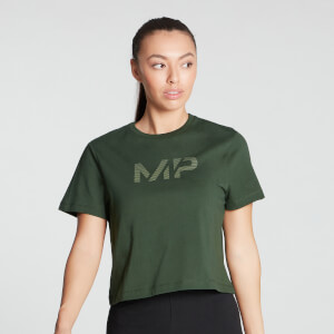 MP Women's Gradient Line Graphic Crop T-shirt- Dark Green