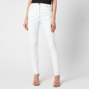 Balmain Women's High Waist Top Stitched Skinny Jeans - White
