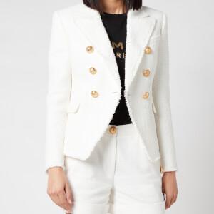 Balmain Women's 6 Button Tweed Jacket - Blanc