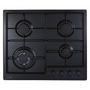 CDA HG6251BL 4 Burner Gas Hob with Front Controls and Wok Burner - 60cm - Black
