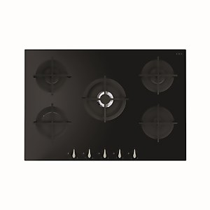 CDA HVG781BL 5 Burner Gas On Glass Hob - 75cm - Black