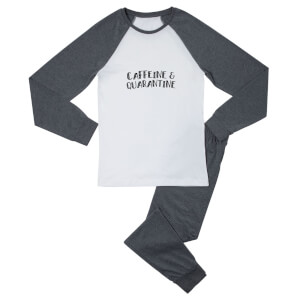 Caffeine & Quarantine Women's Pyjama Set - White/Grey