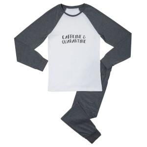 Caffeine & Quarantine Women's Pyjama Set - White/Grey