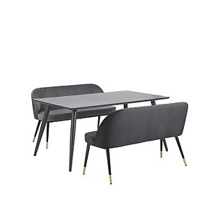 Illona 4 Seater Dining Set - 2 Benches - Grey