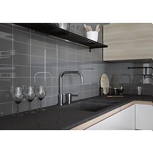 Flat Metro Dark Grey Gloss Wall Tile – 20 x 10cm – 0.88sqm pack