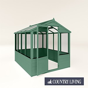 Country Living Kelham 8 x 6 Traditional Greenhouse Painted + Installation - Aurora Green