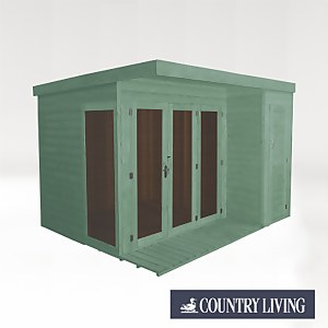 Country Living Overton 10 x 8 Premium Garden Room Summerhouse With Side Shed Painted + Installation - Aurora Green