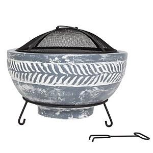 La Hacienda Idris Clay Fire Bowl - Grey
