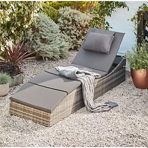 Folding Rattan Sun Lounger in Grey