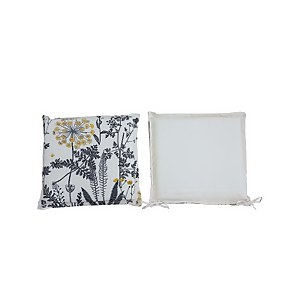 Homebase Outdoor Seat Pad Cushions in Floral Grey - (Pack of 2)