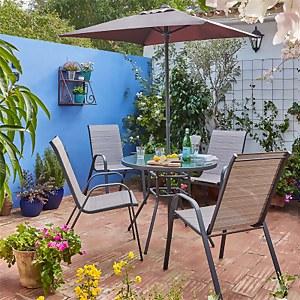 Andorra 4 Seater Garden Dining Set With Parasol