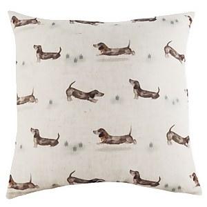 Sausage Dog Repeat Cushion - Natural