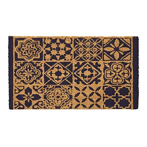 Blue Tile Printed Coir Doormat 40 x 70cm