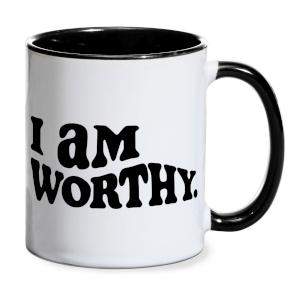 I Am Worthy Mug - White/Black