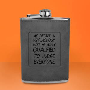 Degree In Psychology Engraved Hip Flask - Grey