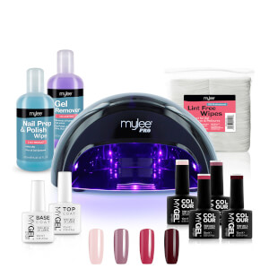 Mylee Black Convex Curing Lamp Kit with Gel Nail Polish Essentials Set